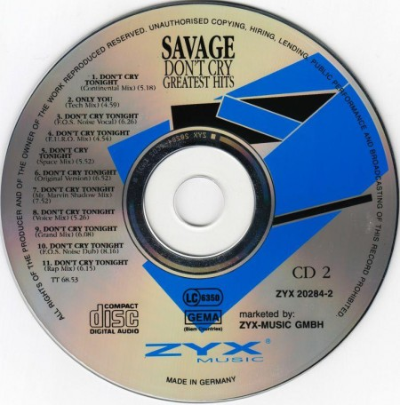 Savage - Don`t Cry. Greatest Hits (2 CD, 1994)