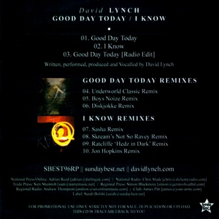 David Lynch - Good Day Today/I Know [Remixes Single] (2011)